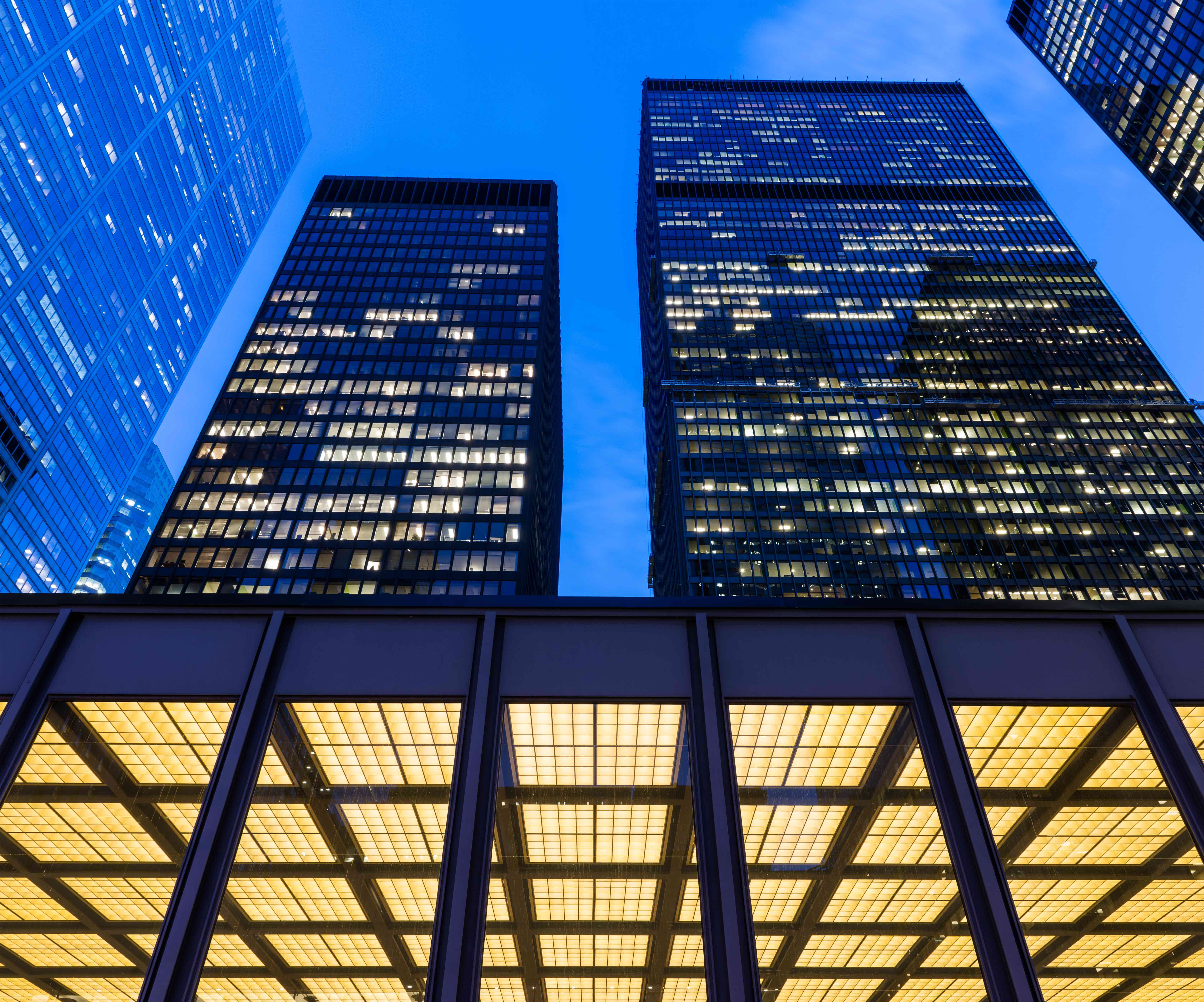 Detail of illuminated modern skyscrapers in Toronto Financial District (Dominion Centre).